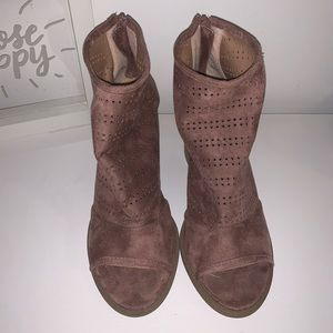 Suede Open Toed Booties